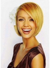 Jessica Alba Modern Long Straight Lace Wig 100% Real Human Hair About 10 Inches