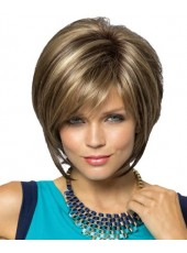 New Arrival Fashion Short Smooth Straight Mix Color 100% Human Hair Wigs