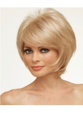 Charming Hairstyle Blonde Natural Bangs Short Cut Indian Virgin Hair Wigs