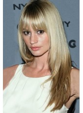 Charming Long Straight Ombre Blonde 100% Human Remy Hair With Full Bang Wigs
