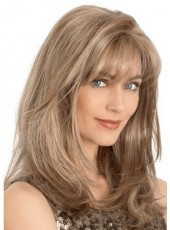 "Custom 18"" Smooth Straight Natural Wave Bangs 100% Human Hair Lifelike Wigs"