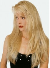 Beautiful 130% Density Long Bangs Layer Straight Gold 100% Human Hair Wigs