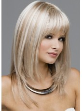 Amazing 100% Human Remy Hair Mix Color Long Layer Straight Full Bangs Cheap Wigs