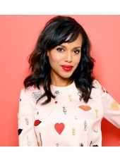 Kerry Washington Hairstyle Natural Black Wavy Human Hair Monofilament Top Wigs