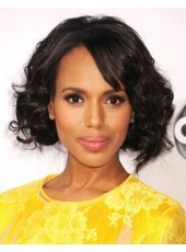 High Quality Kerry Washington Natural Black Wavy Hairstyle Human Hair Monofilament Top Wigs