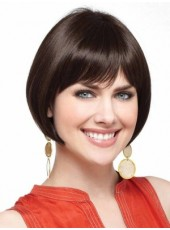 Natural Black Short Sweetheart Bob Hairstyle Capless Synthetic Top Quality Popular Wig About 8 Inches