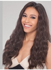 High Density Natural Black African American Human Hair Long Wavy Hand Made Full Lace Popular Wig About 24 Inches