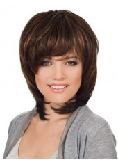 Newest Dark Brown Medium Full Bangs Straight Venation Hairstyle Capless Human Remy Hair Wig About 14 Inches