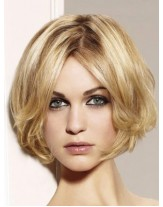 Sweetheart Golden Short Wavy Bouncy Bob Hairstyle Capless Indian Human Remy Hair Wig About 10 Inches