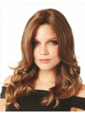 Impressive Long Elegant Wavy Brown Dark Brown Venation Hairstyle Full Lace Indian Human Hair Wigs About 18 Inches