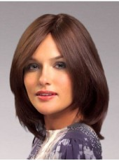 New Dark Brown Medium Shoulder Submissive Straight Venation Hairstyle Lace Front Indian Human Hair Wig