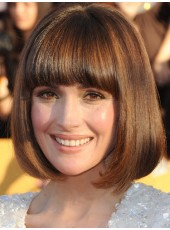 Custom Brown Short Submissive Straight Full Bangs Hairstyle Capless Indian Human Hair Wig