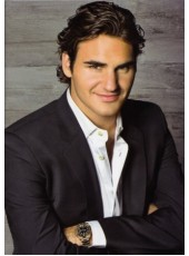 Celebrity Federer Handsome Hairstyle Short Pure Black Venation Full Lace Human Hair Wig About 8 Inches
