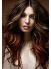 2014 New Midsplit Long Deep Wave Sepia 100% Indian Remy Hair Lace Front Prom Wigs