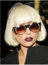 Cool Gorgeous Lady Gaga Hairstyle Short Straight Bob White Synthetic Wigs