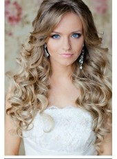 Top Quality Luxury Sweet Long Blonde Deep Wave 100% Human Hair Lace Front Wigs