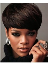 100% Human Hair Short Full Bangs Rihanna Haircut Beautiful Cheap Wigs