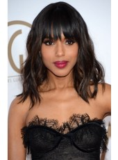Kerry Washington Medium 100% Real Human Hair Loose Wave Wigs For Black Women