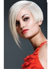 Custom Short White Straight Oblique Long Bangs 100% Human Hair Full Lace Wigs