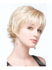 Charming Short Blonde Loose Wave 100% Human Hair Prom Wigs