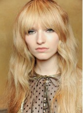 Lovely Long Natural Loose Wave Human Remy Hair Wigs With Full Bangs