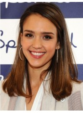 Natural Jessica Alba Long Brown Straight 100% Real Human Hair Lace Front Prom Wigs
