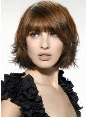 Amazing Short Brown Straight Full Bangs 100% Indian Remy Hair Wigs