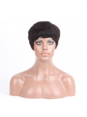 New Arrival Short Natural Black Cheap Price 100% Indian Human Remy Hair Capless Wig