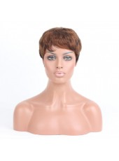 Hot Sale Short Curly Mixed Color(#1B/30) Capless 100% Indian Human Hair Wig