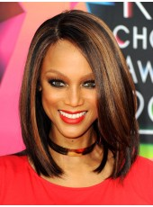Celebrity Tyra Banks Medium Shoulder Mixed Color Popular Straight Hairstyle Lace Front Synthetic Wig About 14 Inches