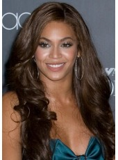 Beyonce  Long Deep Wavy Dark Brown Color Lace Front 100% Human Hair Wigs