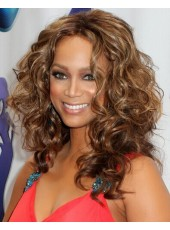 Tyra Banks Deep Wavy Hairstyle Synthetic Mix Color Lace Front Wigs