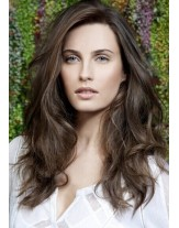 High Quality Dark Brown Color Natural Wavy Lace Front Human Hair Wigs About 22 Inches