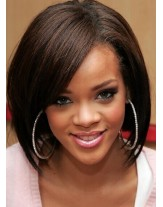 Rihanna Hairstyle Medium Length Bob Lace Front Human Hair Wigs About 12 Inches
