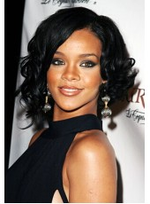 Rihanna Natural Black  Wavy Hairstyle Lace Front Human Hair Wigs About 14 Inches