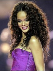 High Quality 150% Density Rihanna Long Curly Hairstyle  Lace Front Synthetic Hair Wigs