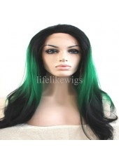 New Product Swiss Lace Front Synthetic Hair Green Ombre Black Color Straight Hair Wigs
