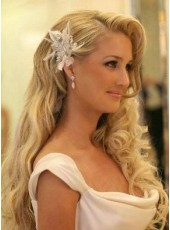 High Quality Bride Hairstyle Long Wavy 100% Human Hair Lace Front Wig About 24 Inches
