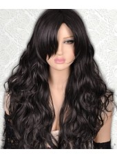 Charming 150% Density Long Natural Black Body Wave Lace Front Synthetic Wigs