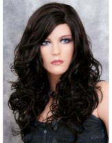 High Quality Wholesale Long Deep Wave Natural Black Lace Front Synthetic Wigs