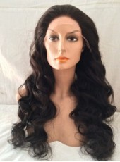 Elegant Long 150% Density Natural Black Wave High Heat Fiber Lace Front Wigs