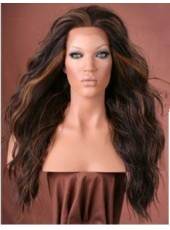 Inexpensive  Free Style Long Wavy Black Heat Resistant Synthetic Lace Wig About 22 Inches
