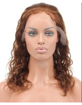 High Quality Bright Brown 100% Human Hair Curly Lace Front Wig About 18 Inches