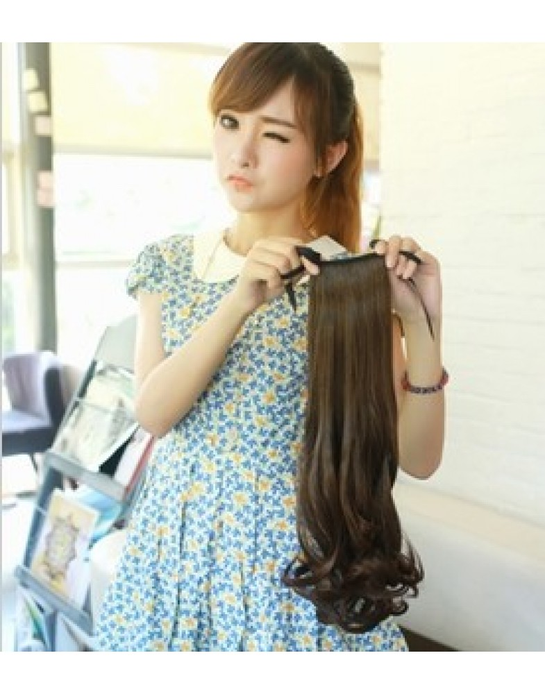 Heat Resistant Long Wavy Tie Up Ponytail About 18 Inches