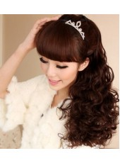 Charming Super Long Stately Small Wavy Tip Up Ponytail About 20 Inches