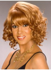 Custom Short Curly Polish Brown Full Bangs Hairstyle Capless Human Hair Wigs