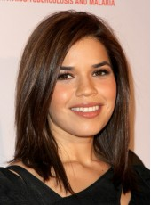 Dark Brown Medium Straight Celebrity America Ferrera Hairstyle Synthetic Lace Front Top Quality Wig
