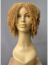 Impressive Real Meidum Yellow Curly Hairstyle Best Quality Capless African American Synthetic Hair Wig About 16 Inches