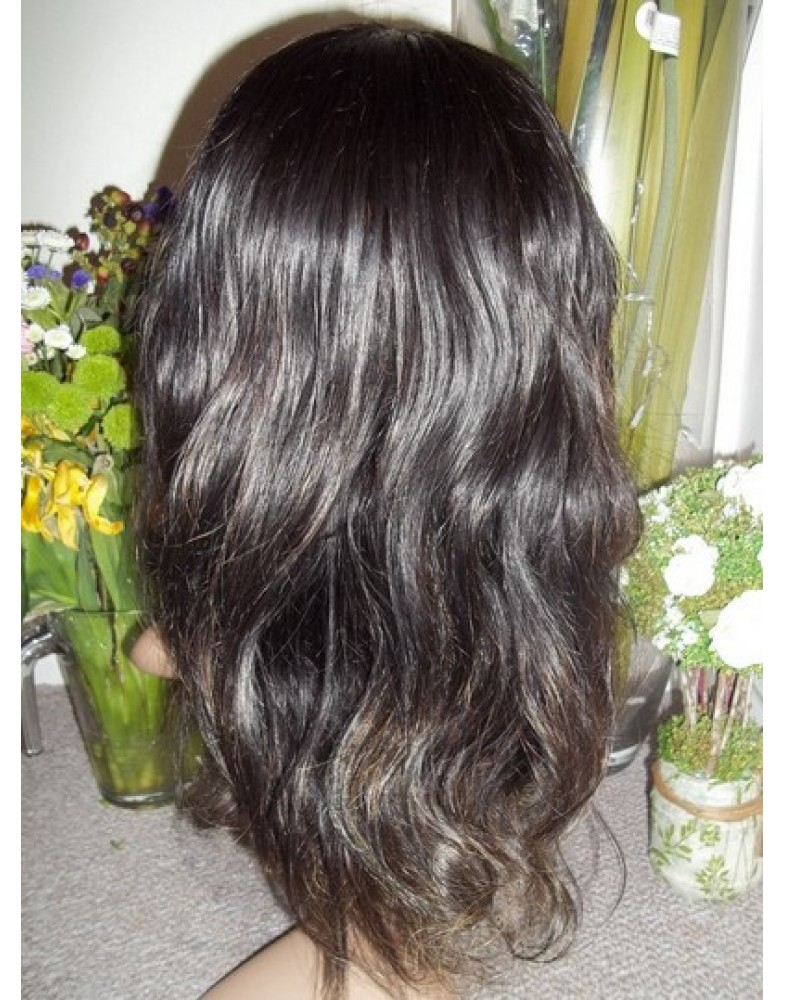 Top Quality Cool Natural Black Hairstyle Wavy  Synthetic Hair Wig With Swept Bang