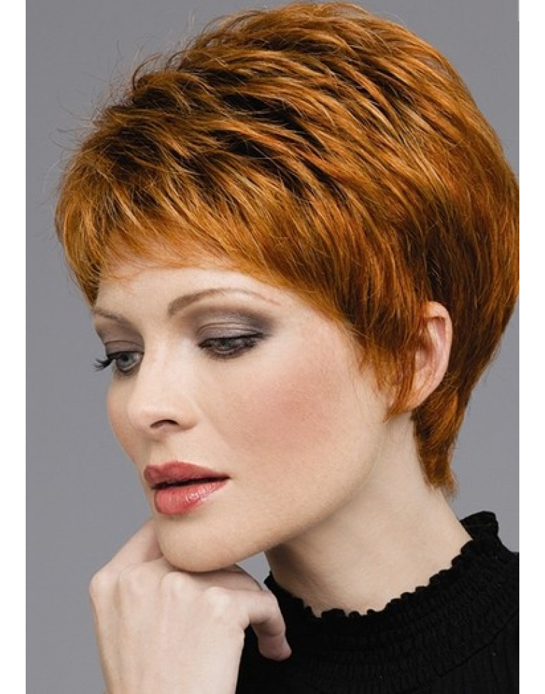 Charming Short Bright Brown Capless Synthetic Hair Wigs About 8 Inches